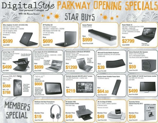 Digital Style Parkway Opening Specials