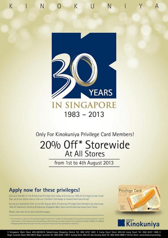 Kinokuniya 30th Anniversary Promotion (Till 4 Aug 2013)