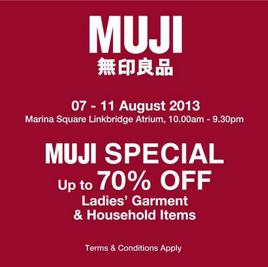 Muji Special - Enjoy Up To 70 Off (Till 11 Aug 2013)