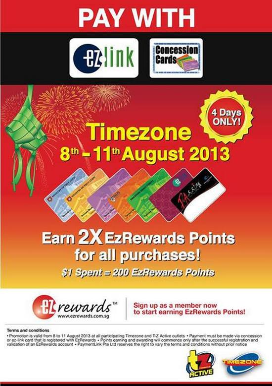 Pay with Ezlink Concession Card and earn 2 X Ezrewards Points