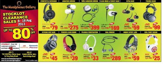 The Headphones Gallery Stocklot Clearance Sales (Till 18 Aug