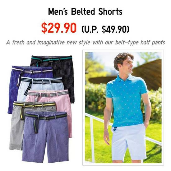 Uniqlo Mens Belted Shorts @ $29.90 (Till 15 Aug 2013)