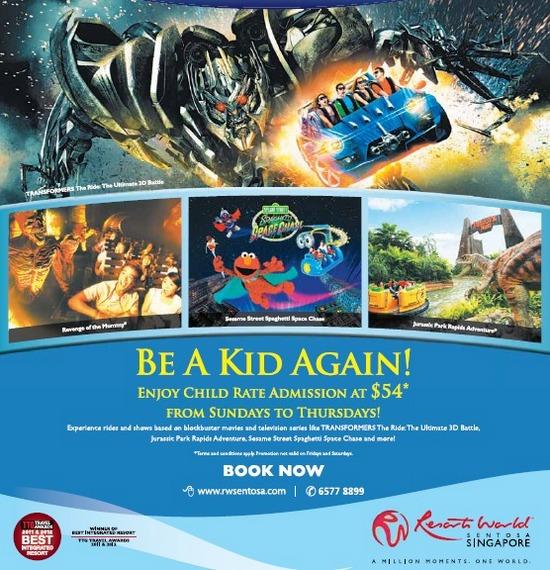 Universal Studios Singapore Child Rate Admission @ $54