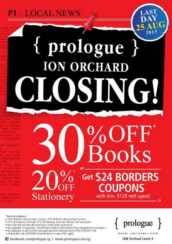{ prologue} Bookstore Ion Orchard Sale (Till 25 Aug 2013)